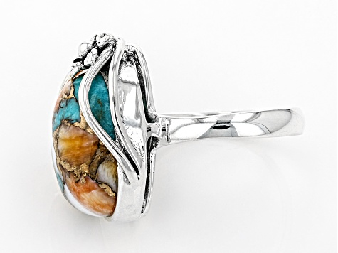 Kingman Turquoise/Spiny Oyster Shell Rhodium Over Silver Ring