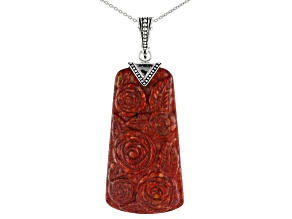 Red Coral Sterling Silver Enhancer With Chain.