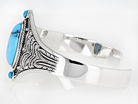 Kingman Turquoise Rhodium Over Silver Cuff Bracelet