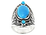 Kingman Turquoise Rhodium Over Silver Ring