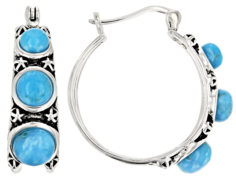 Turquoise Kingman Rhodium Over Silver Hoop Earrings.