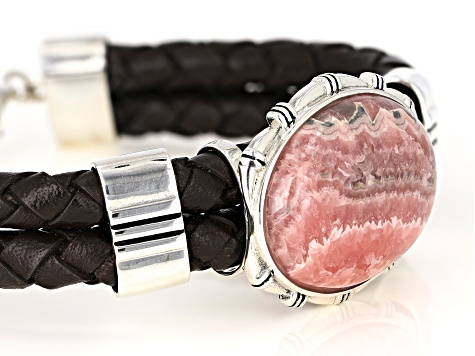Southwest Style By JTV™ 30x22mm Rhodochrosite Braided Imitation Leather and Sterling Silver Bracelet