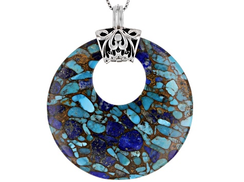 Turquoise With Lapis Rhodium Over Sterling Silver Enhancer With Chain.
