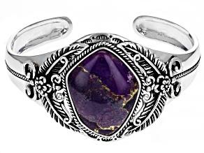 Purple Turquoise Rhodium Over Silver Cuff Bracelet