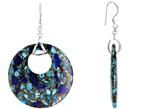 Turquoise and Lapis Rhodium Over Sterling Silver Earrings