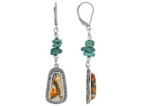 Multi-color Spiny Oyster Shell Rhodium Over Silver Dangle Earrings