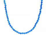 Blue Lab Created Opal Silver Bead Necklace