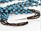 Turquoise Silver 5-Strand Necklace