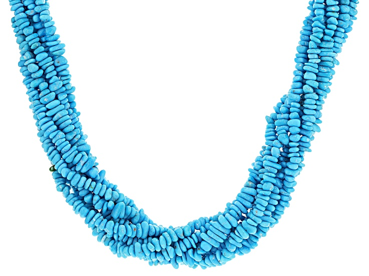 """BLUE-GREEN 30/"""" in STRAND SOLID TURQUOISE CHIP BEADED; MAKE YOUR OWN NECKLACE"""