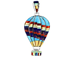 Multi-Gem Silver Hot Air Balloon Pendant