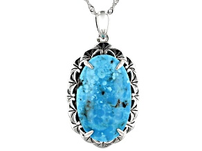 Kingman Turquoise Rhodium Over Sterling Silver Pendant With Chain
