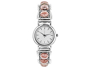 Rhodochrosite Rhodium Over Silver Wrist Watch.