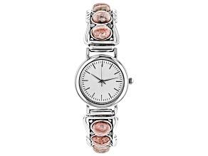 Rhodochrosite Rhodium Over Sterling Silver Wrist Watch.