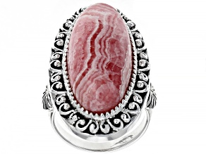 Pink Rhodochrosite Rhodium Over Silver Ring