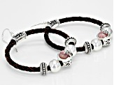 Pink Rhodochrosite Rhodium Over Silver Imitation Leather Hoop Earrings