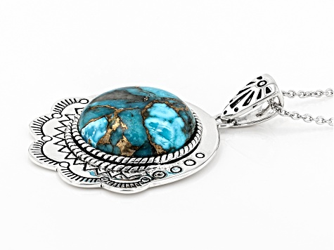 Turquoise Rhodium Over Silver Pendant With Chain