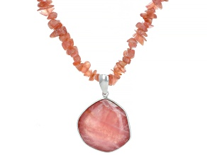 Pink Rhodochrosite Rhodium Over Silver Necklace And Enhancer