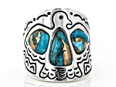 Turquoise Rhodium Over Silver Thunderbird Ring
