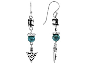 Turquoise Bead Rhodium Over Silver Earrings