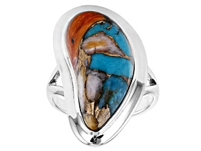 Turquoise And Spiny Oyster Shell Blend Rhodium Over Silver Ring