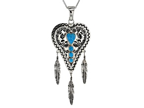 Southwest Style By JTV™ Kingman Turquoise Rhodium Over Silver Heart And Feather Enhancer W/Chain