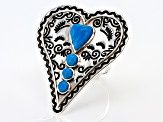 Kingman Turquoise Rhodium Over Silver Heart Ring