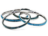 Turquoise Matrix Stainless Steel 4 Bangle Bracelet Set