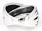 Rhodium Over Silver Crossover Ring