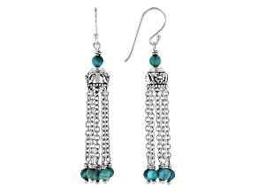 Turquoise Bead Rhodium Over Silver 5-Chain Tassel Earrings