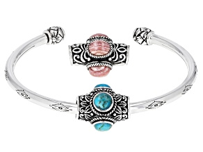 Rhodochrosite Rhodium Over Silver Bracelet W/ Changeable Turquoise Charm
