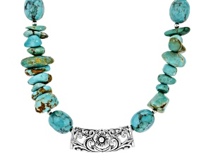 Turquoise Rhodium Over Sterling Silver Bead Necklace