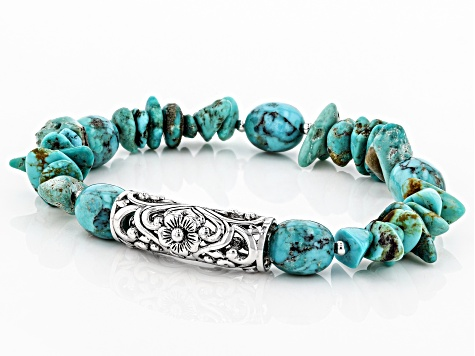 Turquoise Rhodium Over Silver Stretch Bead Bracelet