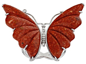 Red Sponge Coral Rhodium Over Sterling Silver Butterfly Ring