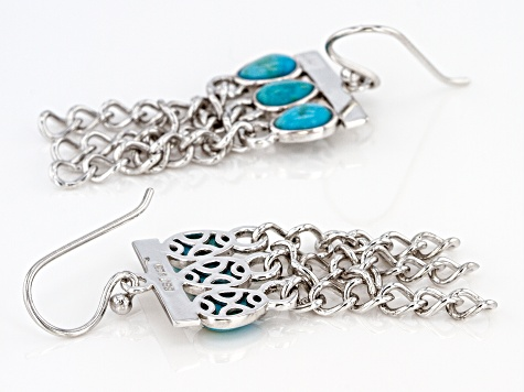 Turquoise Rhodium Over Sterling Silver Tassel Earrings