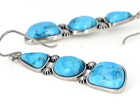 Turquoise Rhodium Over Sterling Silver Earrings