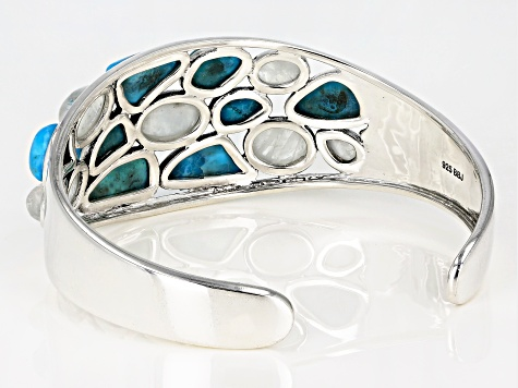 Rainbow Moonstone And Turquoise Rhodium Over Silver Cuff Bracelet
