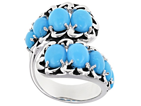 Sleeping Beauty Turquoise Rhodium Over Sterling Silver Bypass Ring