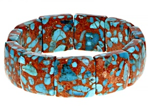 Turquoise With Bamboo Coral Stretch Bracelet