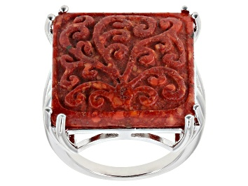 Picture of Red Sponge Coral Rhodium Over Sterling Silver Ring