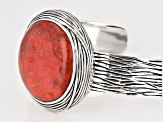 Red Sponge Coral Rhodium Over Sterling Silver Cuff Bracelet