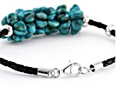 Turquoise Rhodium Over Silver Leather Cord Bracelet