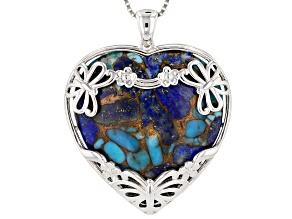 Blended Turquoise and Lapis Rhodium Over Silver Heart Pendant with Chain