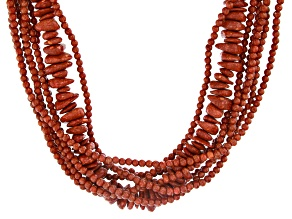 Red Sponge Coral Rhodium Over Silver 8-Strand Necklace