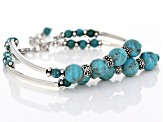 Turquoise Rhodium Over Sterling Silver Double Strand Bead Bracelet