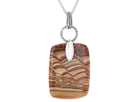 Yellow Wave Rolling Hills Travertine Rhodium Over Silver Pendant With Chain
