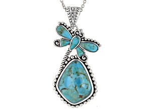 Turquoise Rhodium Over Silver Dragonfly Enhancer With Chain