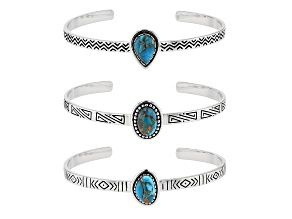 Kingman Turquoise Rhodium Over Sterling Silver Bracelets. Set Of 3