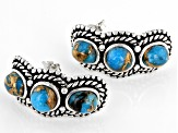 Kingman Turquoise Rhodium Over Sterling Silver Earrings