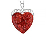 Red Sponge Coral Rhodium Over Silver Pendant With Chain