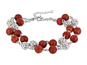 Red Sponge Coral Rhodium Over Silver Bead Bracelet